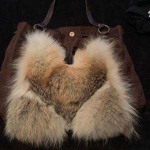 Handbags - Handmade purse with real fur